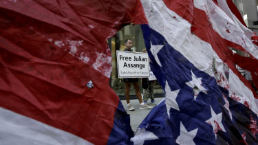 A supporter of WikiLeaks founder Julian Assange during a protest outside the Central Criminal Court in London on September 14.
