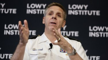 Admiral Philip Davidson, head of the US Indo-Pacific command, speaks at the Lowy Institute in Sydney on Thursday.