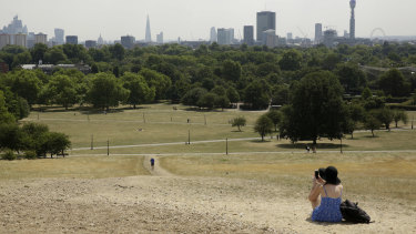 A view from Primrose Hill shows burnt grass from the lack of rain during what has been the driest summer for many years in London.