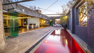The terrace and swimming pool at 29-31 Izett Street, Prahran.