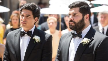 "Cristiano Caccamo (left) as Antonio and Salvatore Esposito as Paolo say ""I do"" in My Big Gay Italian Wedding."