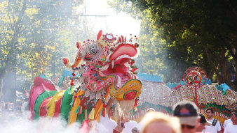 Sun Loong at Bendigo's Easter parade.  The dragon is a rare example of Qing Dynasty style and is made with individual scales.