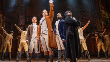 Hamilton's leading men: (left to right), Marty Alix as John Laurens; Jason Arrow as Alexander Hamilton; Victory Ndukwe as the Marquis de Lafayette;  Shaka Cook as Hercules Mulligan.