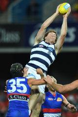 Screamer: Geelong forward Gary Rohan pulls down a mark against the Bulldogs.