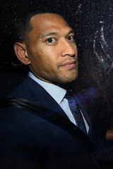 Folau leaving his Code of Conduct hearing this week.