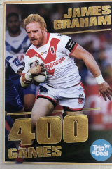 James Graham's 400-game commemorative playing card handed out at Kogarah.