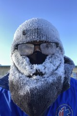 An icy selfie Junel Malapad took while running in Winnipeg.