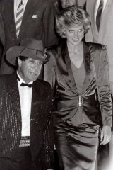 """Princess Diana and Molly Meldrum at the """"Rockin with the Royals Concert""""."""