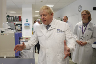 Boris Johnson visited a hospital in Cambridge on the day the UK was meant to exit the EU.