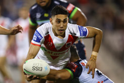 Dragons fullback Tyrell Sloan scored a try on debut on Saturday night.