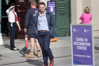 Josh De Bono, centre, was among those turned away in Victoria.
