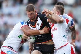 The Wests Tigers five-eighth carts it up against St George Illawarra last Sunday.