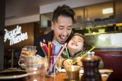 A blast of sunny happiness after cafes re-opened and Christopher Ong took his daughter, Ava for a coffee.