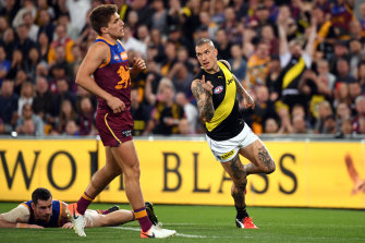 Dustin Martin of the Tigers reacts after kicking his first goal against the Lions during the Second Qualifying Final.