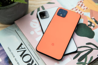The white and orange versions of the Pixel 4 and Pixel 4 XL stand out with black accents.