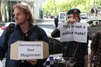 Protesters outside Melbourne Magistrates Court on Monday morning.