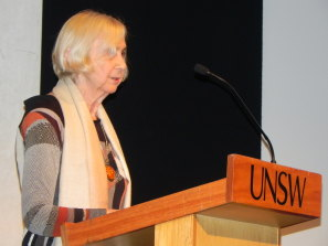 Flo Levy lecturing at UNSW Psychiatry 50th anniversary dinner, 2012.