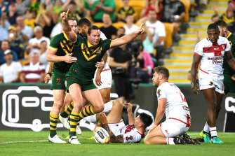 Australia's Boyd Cordner celebrates a try against England in the 2017 World Cup.