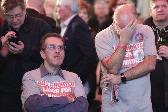 ALP supporters show their disappointment at the results on the night of the last federal election.