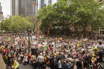 Thousands of protesters gathered at Town Hall on Wednesday.
