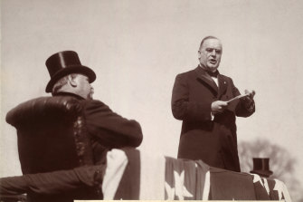 New president William McKinley delivers his inaugural address as former president Grover Cleveland listens in 1897.