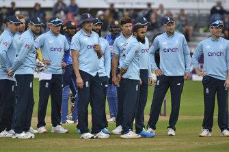 The England team at their ODI clash with Sri Lanka in Bristol.