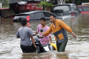 Floodwaters in Jatibening, on the outskirts of Jakarta, on Wednesday.