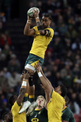 Stratospheric: Lukhan Salakaia-Loto is launched into the air to claim a lineout.