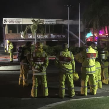 Fire crews at Billabong Brewery on May 12.
