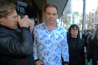 John Setka and his wife Emma Walters arrive at Melbourne Magistrates Court on Wednesday.