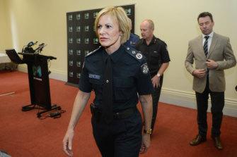 Lucinda Nolan became deputy commissioner of Victoria Police. She kept a framed photo of Mick Miller in her office.