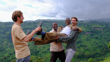 Darcy Small (left) and Brody Smith (far right) of Bugisu Project with the team from Zukuka Bora, in Mt Elgon, Uganda.