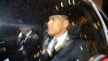 Crossing the line: Israel Folau leaves Rugby Australia headquarters after his hearing last Sunday.