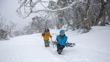 Patrick Gasser and Adam Vetricek out enjoying early morning turns in deep fresh snow at Mt Buller.