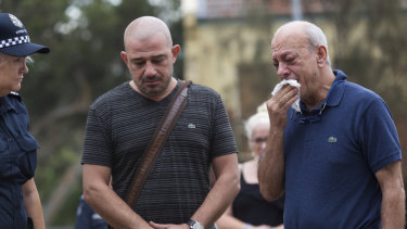 Aiia Maasarwe's father Saeed (right) visited the scene of her death on Friday morning.
