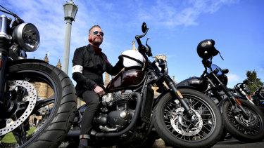 Bernie Callan on his Triumph Bobber at the Distinguished Gentleman's Ride.