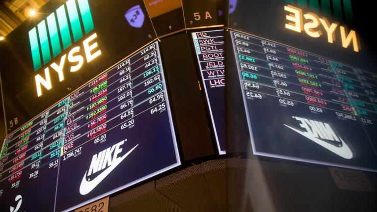 Nike shares slid overnight.