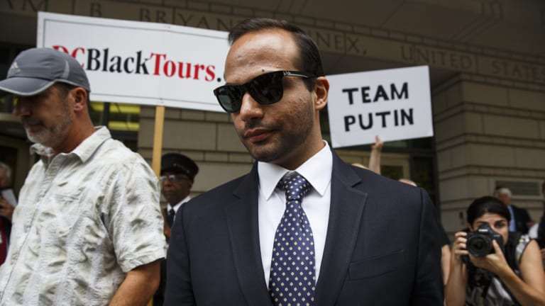 Lied: George Papadopoulos, former campaign adviser for Donald Trump, outside court on Friday.