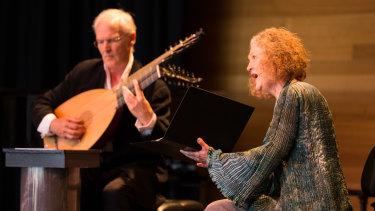 Lutenist Jakob Lindberg on stage with British soprano Emma Kirkby.
