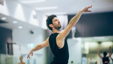 Andrew Killian during morning class at the Australian Ballet.