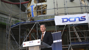 Government minister Christopher Pyne in 2016, announcing the decision to build the French diesel submarines in Australia.
