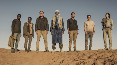 Deep State (L-R) David Jonsson as Isaac Turner, Lily Banda as Aïcha Konaté, Alistair Petrie as George White, Alexander Siddig as Issouf Al Moctar, Walton Goggins as Nathan Miller, Joe Dempsie as Harry Clarke and Karima McAdams as Leyla Toumi.