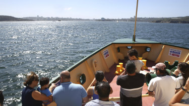 The Narrabeen sails towards Manly on Sunday.