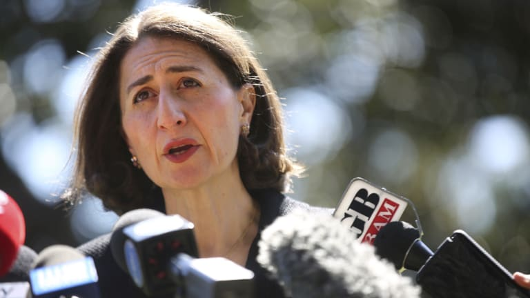 Gladys Berejiklian faces the media on Sunday morning.