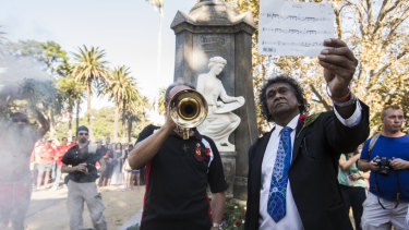 The last post is played at the Redfern Aboriginal ANZAC Day Commemoration on April 25, 2015.