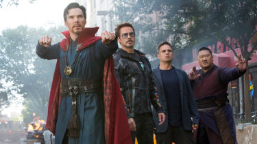 Doctor Strange, Iron Man, The Hulk and Wong in Avengers: Infinity War.