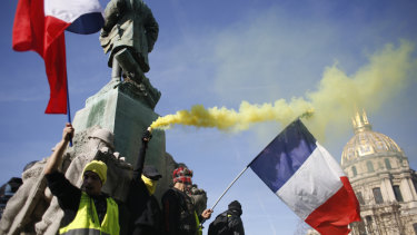 Yellow vest protesters held scattered demonstrations around Paris and the rest of France amid waning support for their movement.