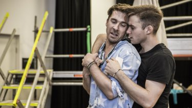 Actors Hugh Sheridan and Matthew Manahan rehearse for the latest Australian production of Hair.