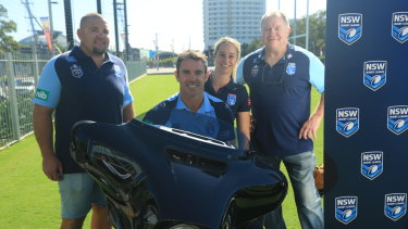 Leading hog: Brad Fittler prepares for his annual Hogs For The Homeless ride with (l-r) Mark O'Meley, Kezie Apps and Ian Schubert.