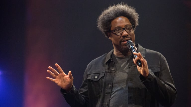 W. Kamau Bell in his stand-up show, Private School Negro.